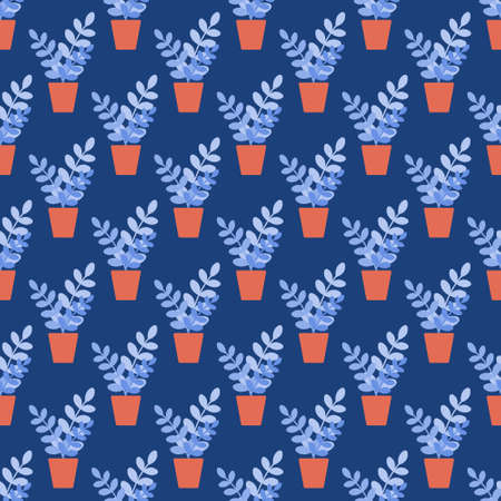Potted houseplant on a blue background. Vector seamless pattern in flat style
