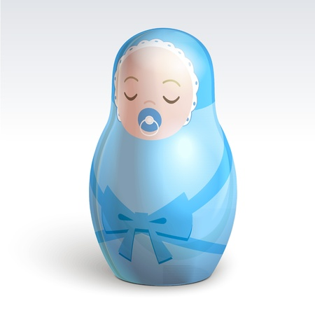 Illustration of boy matrioshka