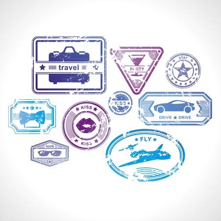 timbre voyage: Éléments de conception grunge timbres Illustration