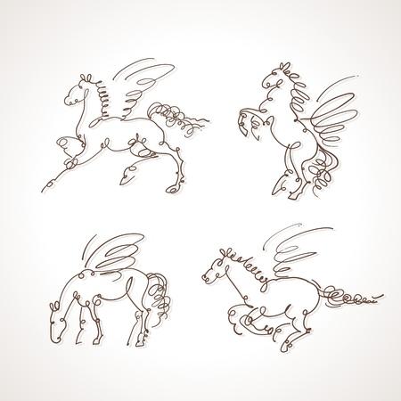 pegaso: Conjunto de la ilustración pegaso Vectores