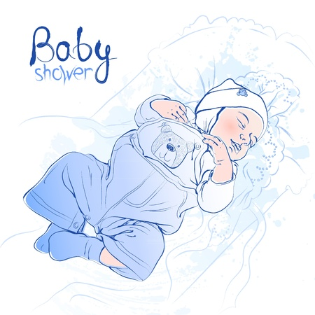 Vector illustration of a sleeping baby boy in blue Illustration