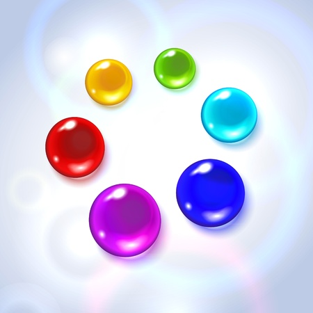 Raster illustration depicting colorful drops on white background Stock Photo