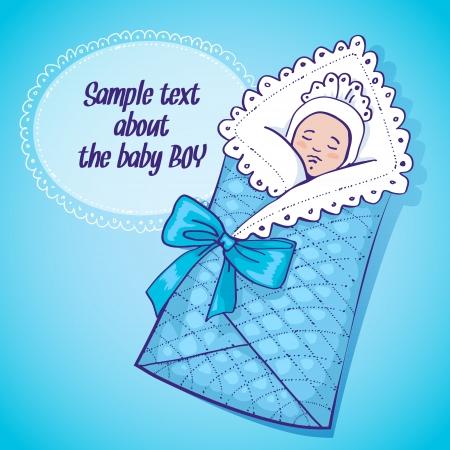 Vector Illustration eines neugeborenen Jungen mit Platz für Text