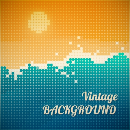 Vector Vintage Illustration of Sea Landscape  Illustration