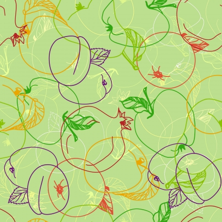 Vector seamless pattern of fruit on a green background Illustration