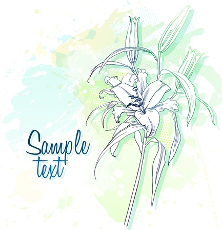 background with watercolor depicting lilies Illustration