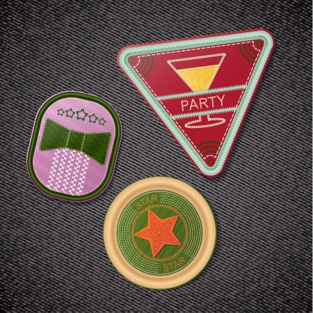 oval  alcohol: Seth embroidered chevrons on black denim background