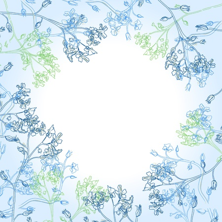 frame of blue flowers and watercolor stains Illustration