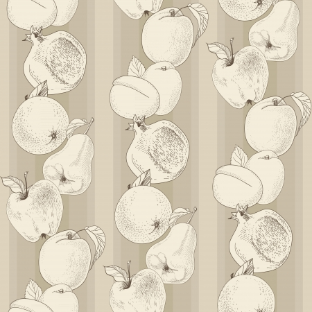 vintage seamless pattern of fruit and strips Vector