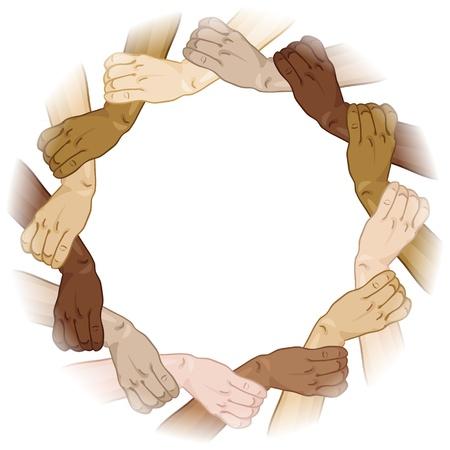 manos: Manos Vector marco tom� en el c�rculo Vectores