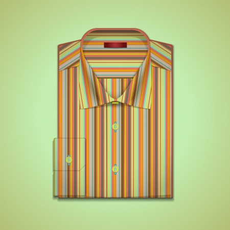image is a mans shirt in colorful stripes Vector
