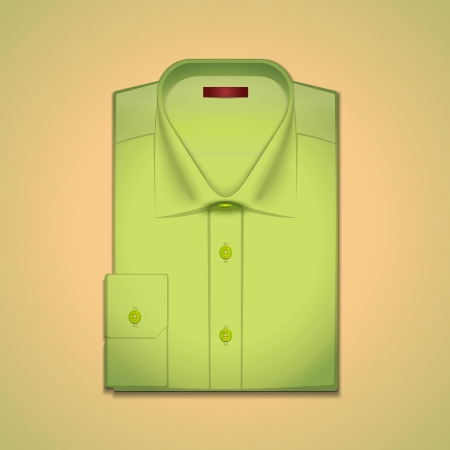 folded clothes:  image is a green classic mens shirt Illustration