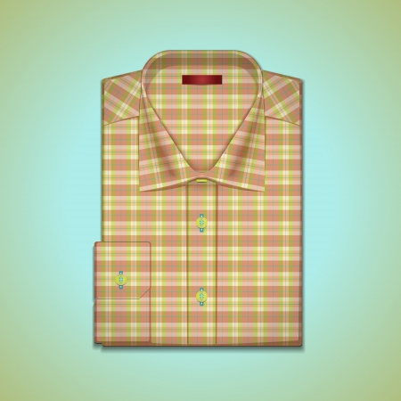 image is a mans shirt of tattersall Vector