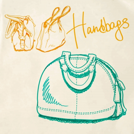 sketch imitating bags with markers Vector