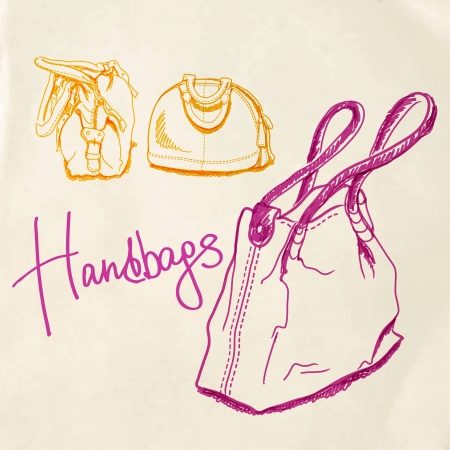 illustration, sketch imitating bags with markers