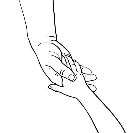 hand touch:  illustration of childrens hand in the hand of an adult