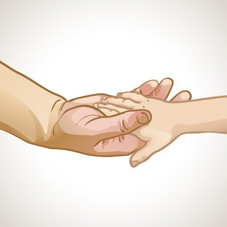 illustration of childrens hand in the hand of an adult Vector