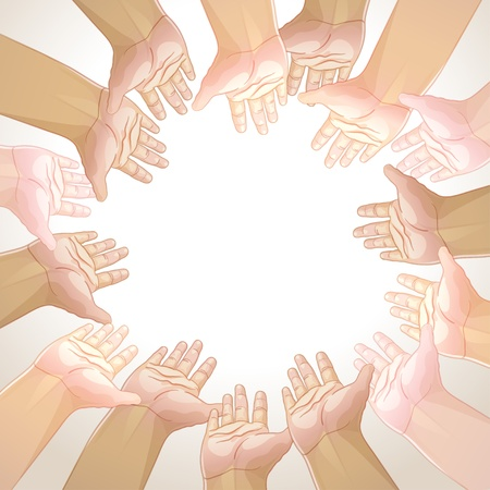 frame hands took in the circle