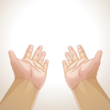 illustration of an outstretched hands Illustration