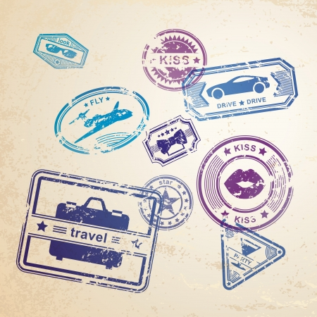 air mail: Grunge stamps design elements Illustration