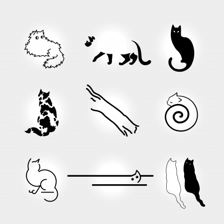Set of stylized cats