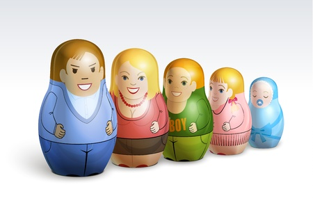 Vector illustration depicting a family of dolls matrioshka:  father, mother, daughter, sons Illustration
