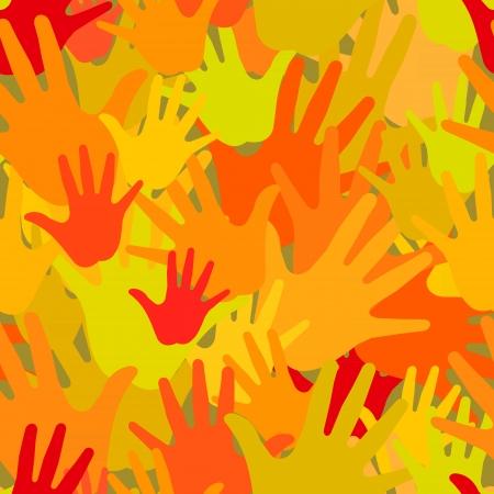 derechos humanos: Vector patrón de las palmas de colores calientes
