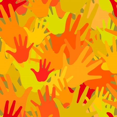human rights: Vector pattern of the palms of hot colors