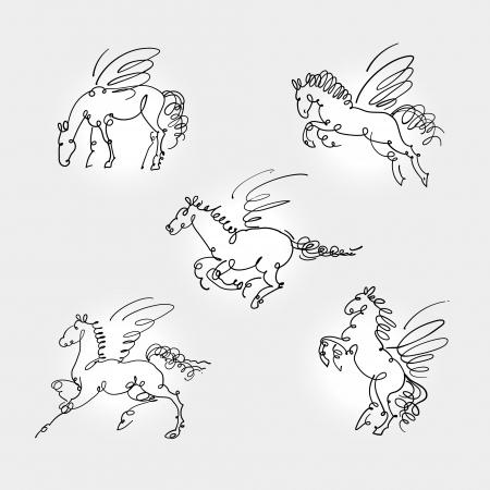 beautifu: Set of pegasus vector