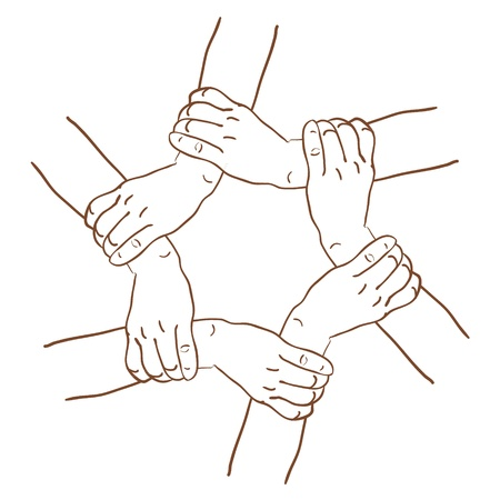 unity is strength: Vector sketch hands took in the circle Illustration