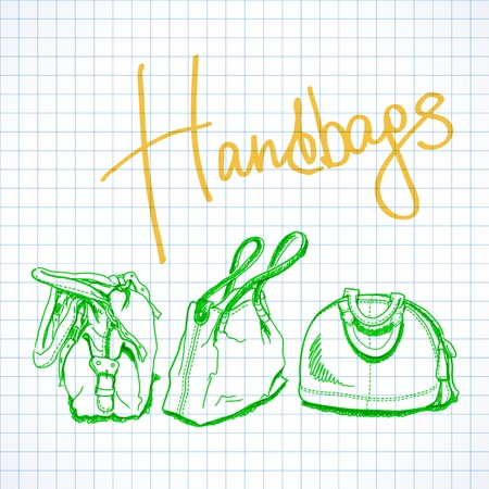 illustration, sketch imitating bags with markers Vector