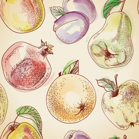 seamless pattern from a vintage fruit Illustration