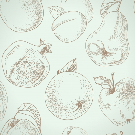seamless pattern from a vintage fruit Vector