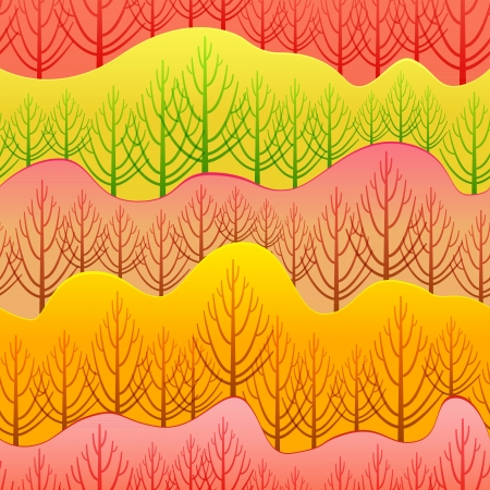 seamless pattern of forest orange Illustration