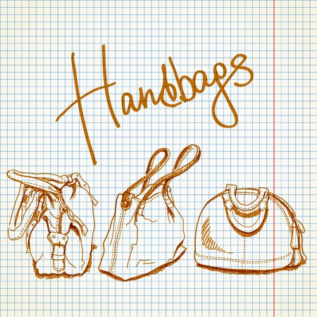 leather goods: illustration, sketch imitating bags with markers