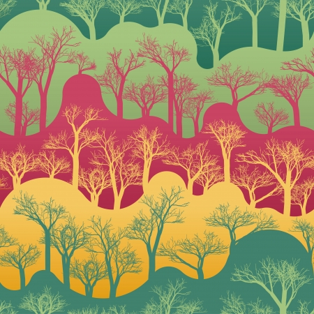 multi coloured: seamless pattern with silhouettes of trees
