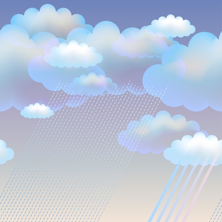 Blue vector sky with clouds and rain Illustration