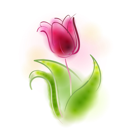 Vector illustration depicting a stylized colorful tulip