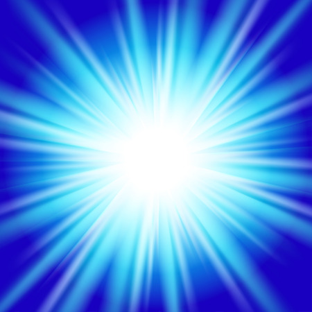 Vector image of bright blue star with rays