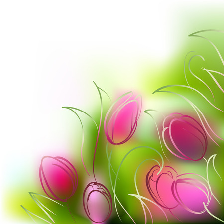 Vector background of delicate and colorful tulips