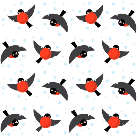 flit: Vector seamless ornament bullfinches on white background Illustration