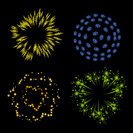 blue star background: Vector set of elements fireworks on black background