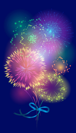Vector illustration of a bouquet of fireworks Vector
