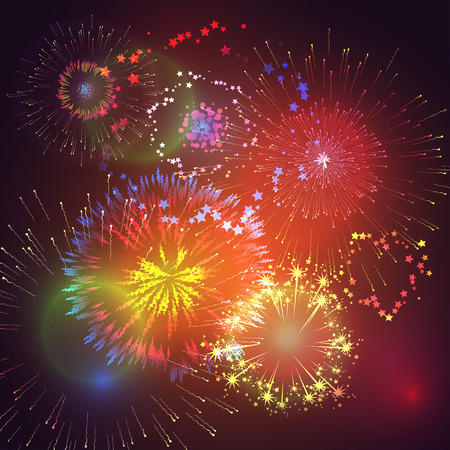 Vector illustration with colorful fireworks and fireworks
