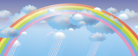 Vector background with clouds, rain and rainbow Illustration