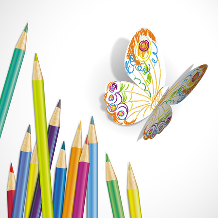 multi coloured: Vector illustration of a paper butterfly and colored pencils