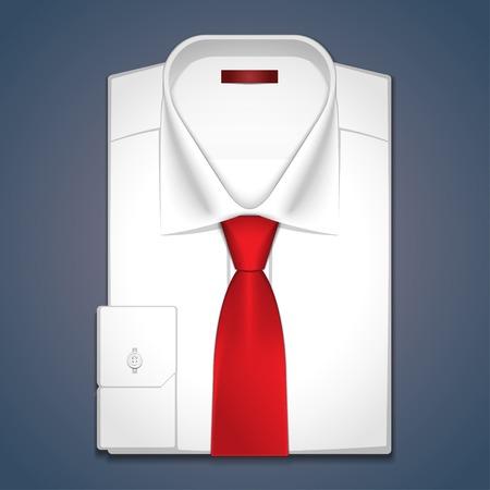 camicia bianca: Camicia bianca classica con cravatta rossa