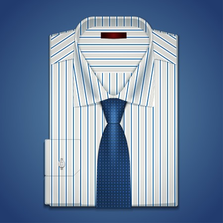 blue tie: Classic white striped shirt and tie