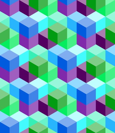 Seamless pattern of colorful volumetric cubes