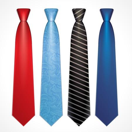 Set of elegant neckties of different colors Vector